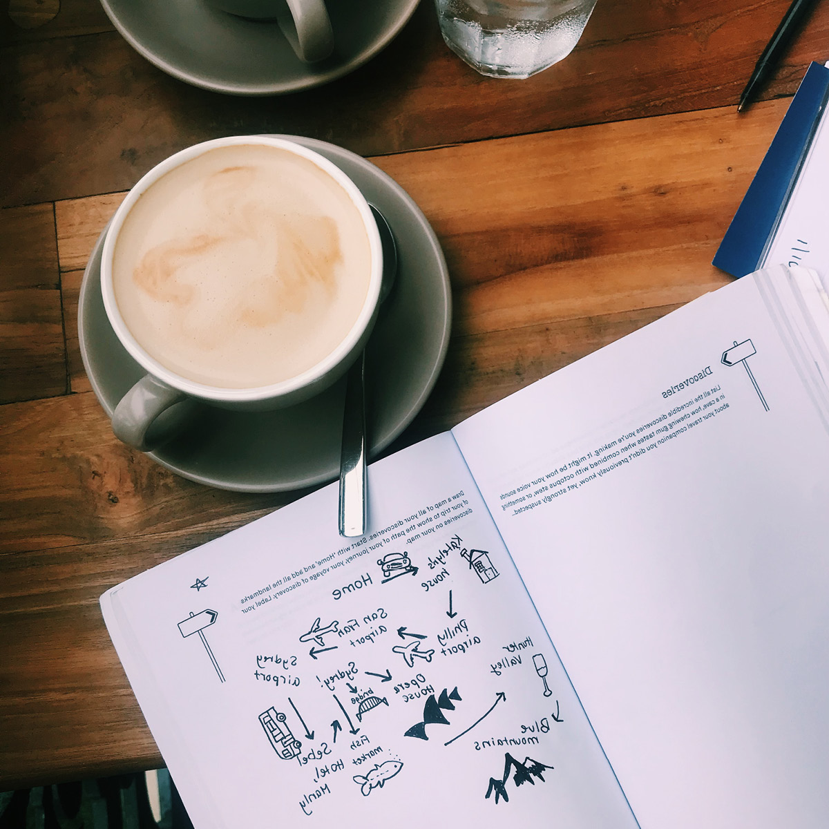 A photo of a travel journal sitting on top of a table with a cup of coffee.